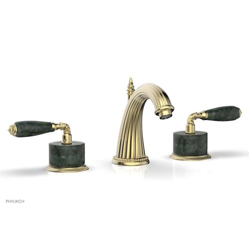 VALENCIA Widespread Faucet Green Marble K338F - Polished Brass Uncoated