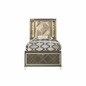 ACME Skylar Twin Bed (Storage & LED) - 25340T - Glam, Contemporary - PU, LED, Wood (Rbw), Paper Veneer (PU), MDF, PB, Acrylic Leg - LED, PU and Dark Champagne