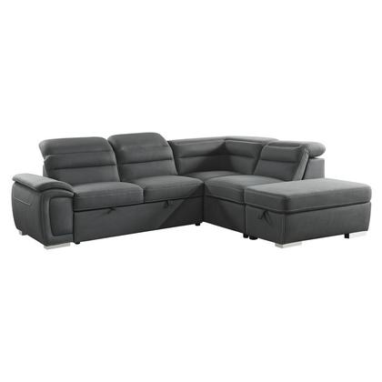 See Details - 3-Piece Sectional with Pull-out Bed and Storage Ottoman