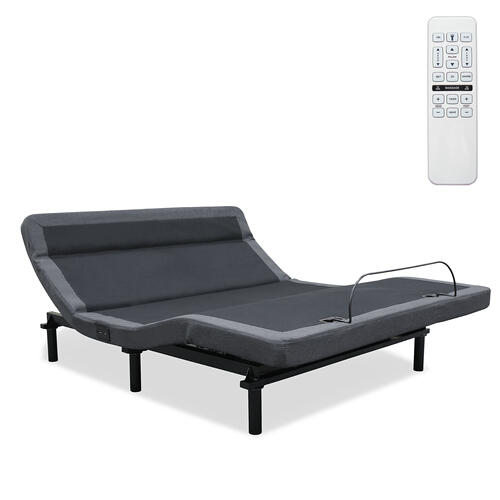 Leggett and Platt - Williamsburg+ Adjustable Bed Base with Independent Pillow Tilt and (2) USB Charging Ports, Gray Finish, Twin XL