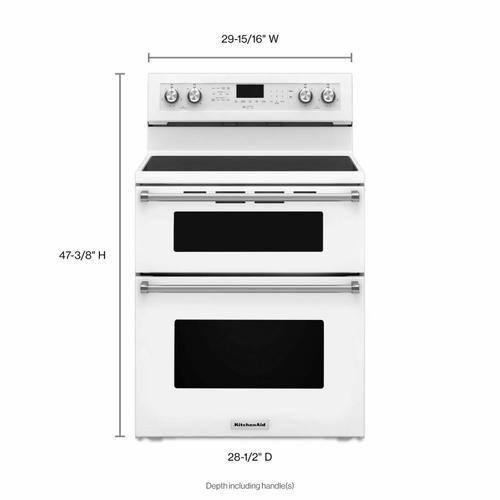 KitchenAid - 30-Inch 5 Burner Electric Double Oven Convection Range - White