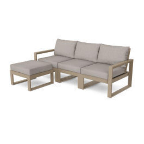 Polywood Furnishings - EDGE 4-Piece Modular Deep Seating Set with Ottoman in Vintage Sahara / Weathered Tweed