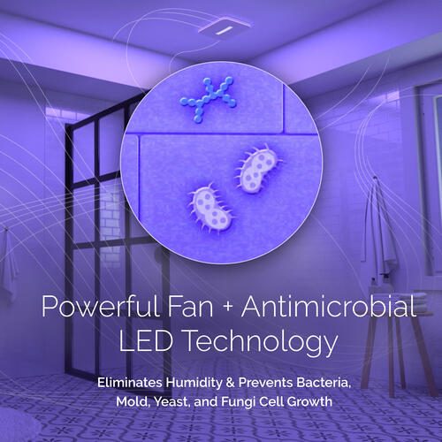 Broan® SurfaceShield Vital Vio® Powered Exhaust Fan w/ LED Light & Antibacterial Light, 110 CFM