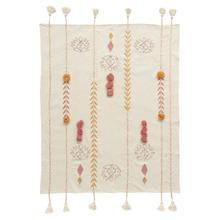 """See Details - 60""""L x 50""""W Cotton Embroidered Throw w/ Tassels & Applique, Cream Color"""