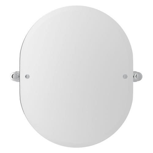 "Polished Chrome Perrin & Rowe Wall Mount 24 7/16"" Oval Mirror"