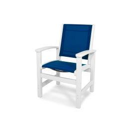 Polywood Furnishings - Coastal Dining Chair in White / Royal Blue Sling