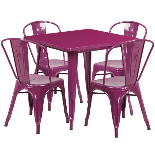 31.5'' Square Purple Metal Indoor-Outdoor Table Set with 4 Stack Chairs