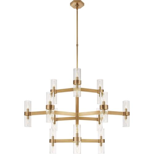 AERIN Margita 24 Light 45 inch Hand-Rubbed Antique Brass Chandelier Ceiling Light, Medium