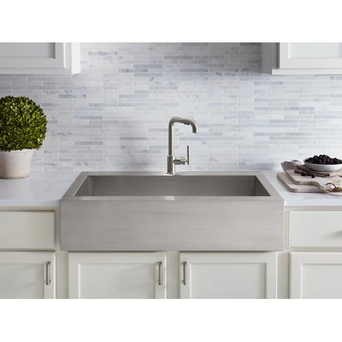 """35-3/4"""" X 24-5/16"""" X 9-5/16"""" Self-trimming Top-mount Single-bowl Stainless Steel Apron-front Kitchen Sink for 36"""" Cabinet"""