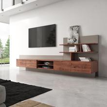 See Details - Nova Domus Pompeii Contemporary Grey & Walnut TV Stand
