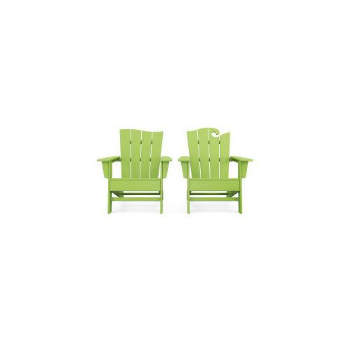 Polywood Furnishings - Wave 2-Piece Adirondack Set with The Wave Chair Left in Lime