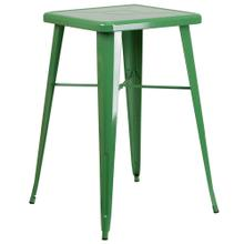 See Details - 23.75'' Square Green Metal Indoor-Outdoor Bar Height Table