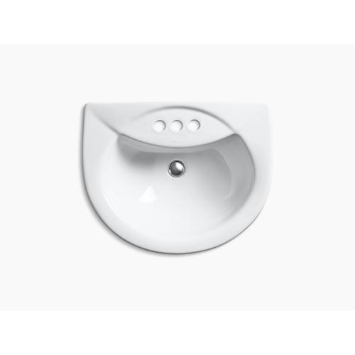 "White Drop-in Bathroom Sink With 4"" Centerset Faucet Holes"
