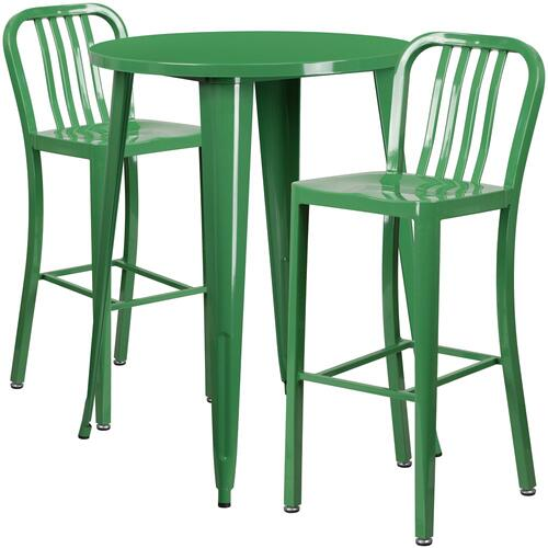 30'' Round Green Metal Indoor-Outdoor Bar Table Set with 2 Vertical Slat Back Stools