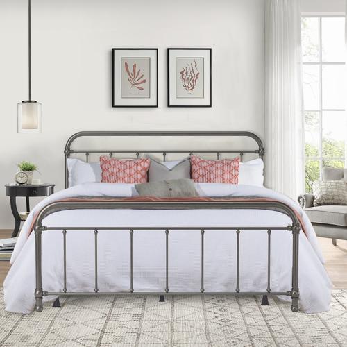 Hillsdale Furniture - Kirkland Metal King Bed, Aged Pewter