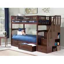 See Details - Columbia Staircase Bunk Bed Twin over Twin with Raised Panel Bed Drawers in Walnut
