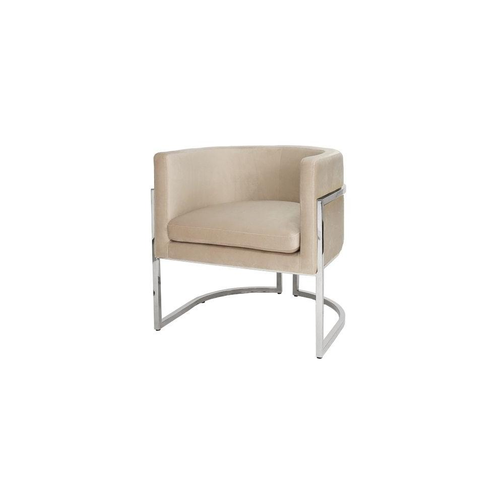 This Mid-century Modern, Barrel-back Arm Chair Dazzles From Every Angle. arcing Metal Frame Is Finished In Reflective, Polished Nickel, and Luxurious, Cream-colored Velvet Upholstery Beckons Your Guests To Sit and Stay Awhile. Perfect for the Dining Room, or Pair as Occasional Chairs In Your Keeping Room. Jenna Is A Charmer In Any Setting.