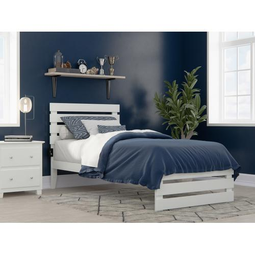 Oxford Twin Extra Long Bed with Footboard and USB Turbo Charger in White