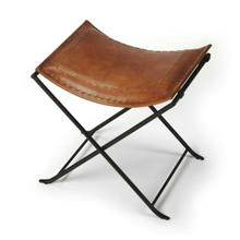 See Details - Leather meets iron for a simple seat, ideal for any spot in your home. Great alone or in multiples, its carefully stitched warm brown leather seat is supported by an understated black iron base that folds eaily for storage.