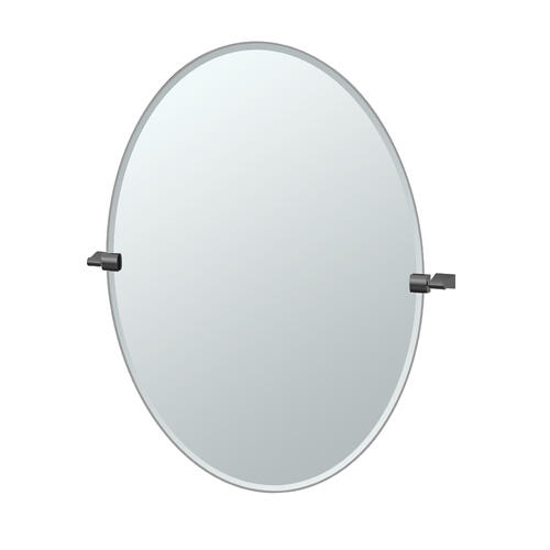 Bleu Oval Mirror in Matte Black
