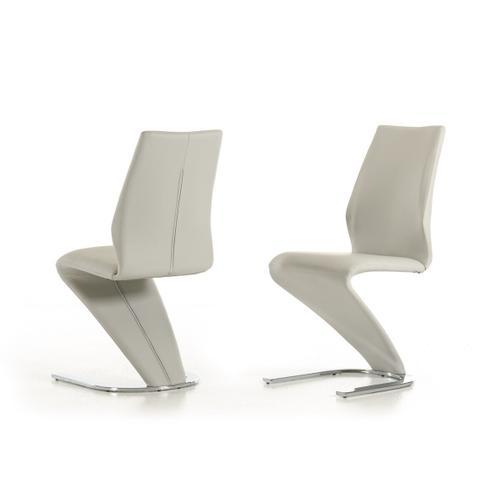 VIG Furniture - Penn - Modern Light Grey Leatherette Dining Chair (Set of 2)