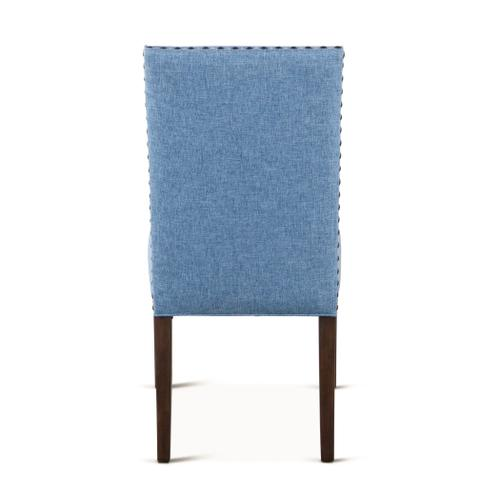 Sofie Dining Chair Light Blue Linen with Weathered Teak Legs