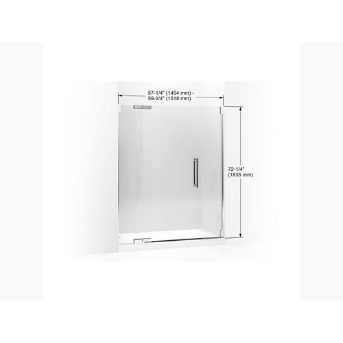 "Crystal Clear Glass With Bright Polished Silver Frame Pivot Shower Door, 72-1/4"" H X 57-1/4 - 59-3/4"" W, With 3/8"" Thick Crystal Clear Gla"