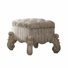 ACME Versailles Vanity Stool - 21138 - Ivory Fabric & Bone White