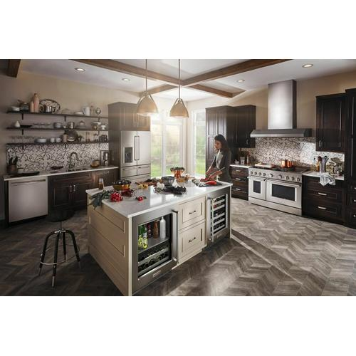 """KitchenAid - 24"""" Undercounter Wine Cellar with Glass Door and Metal-Front Racks - Stainless Steel"""
