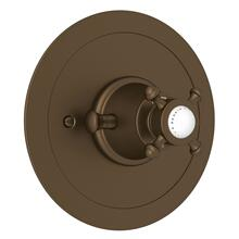 English Bronze Perrin & Rowe Georgian Era Round Thermostatic Trim Plate Without Volume Control with Georgian Era Cross Handle