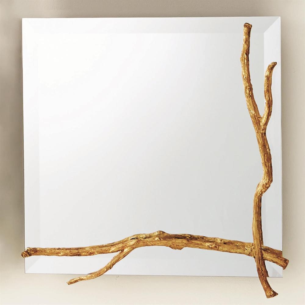 See Details - Twig Mirror-Gold Leaf-Sm