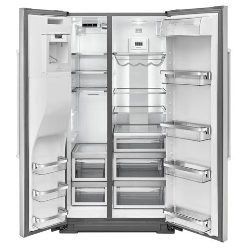 DISPLAY MODEL 24.8 Cu. Ft. Standard Depth Side-by-Side Refrigerator with Exterior Ice and Water Stainless Steel