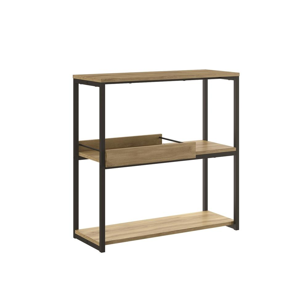 The Noa Bookcase Part Of Our Kd Collection In Oak Melamine With Black Painted Metal And Removable Tray.