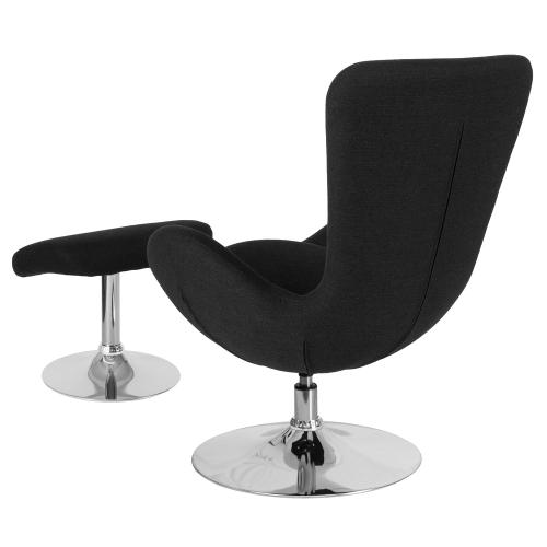 Alamont Furniture - Black Fabric Side Reception Chair with Ottoman
