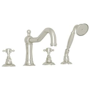 Polished Nickel Acqui 4-Hole Deck Mount Column Spout Tub Filler With Handshower with Cross Handle
