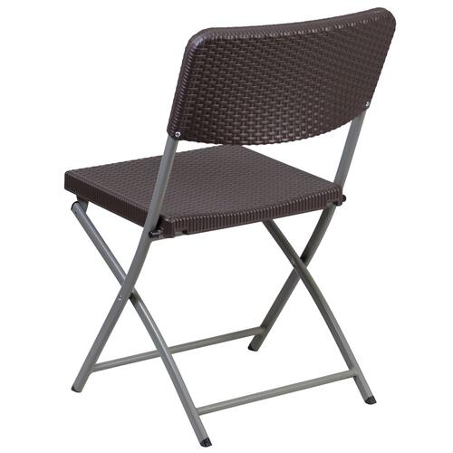 Brown Rattan Plastic Folding Chair with Gray Frame
