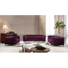 See Details - Divani Casa Delilah Modern Purple Fabric Sofa Set