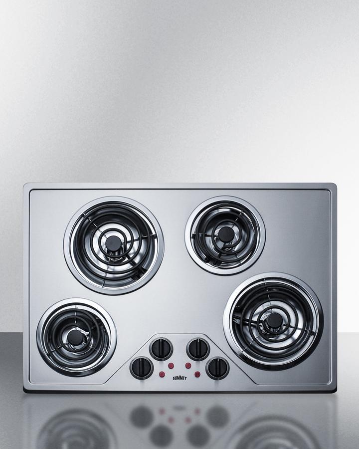 """Summit30"""" Wide 230v 4-Burner Coil Cooktop"""