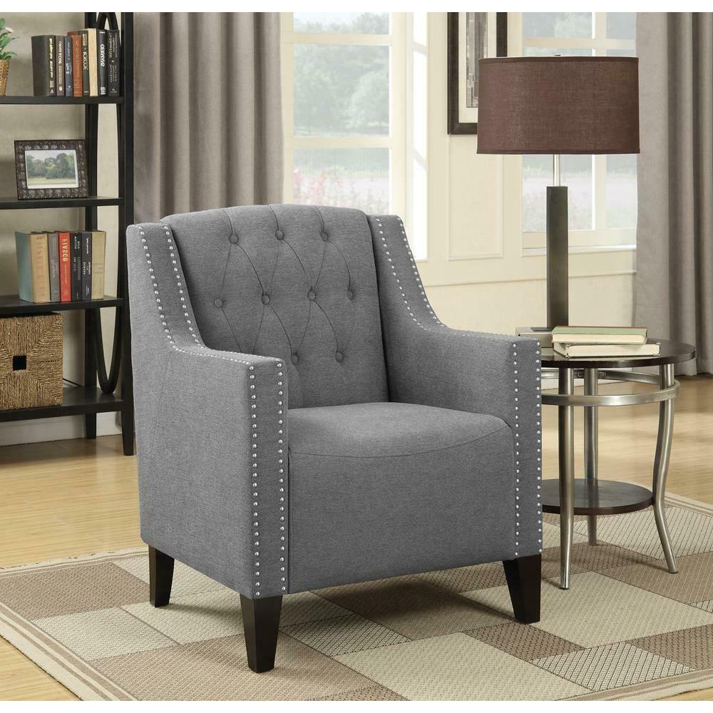 Transitional Grey Upholstered Accent Chair