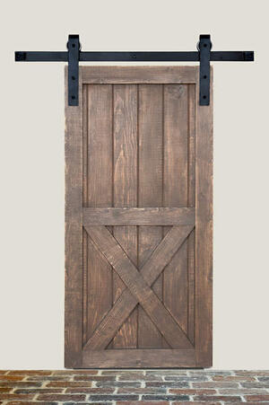 7' Barn Door Flat Track Hardware - Smooth Iron Basic Style Product Image