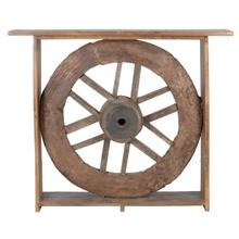 See Details - 53\u0022 Reclaimed Wood Wheel Console Table