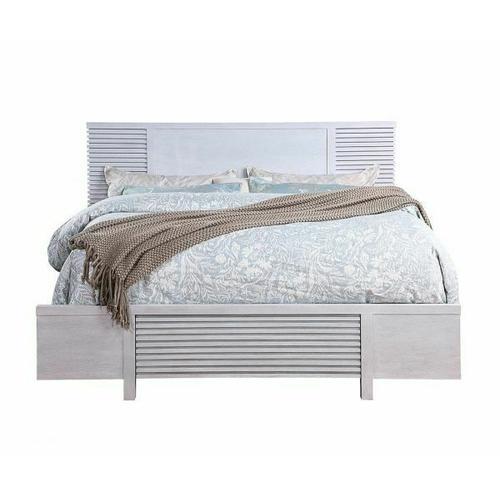 ACME Aromas Eastern King Bed (Storage) - 28107EK - Coastal - Wood (Poplar), Wood Veneer (Oak), MDF, Ply, PB - White Oak