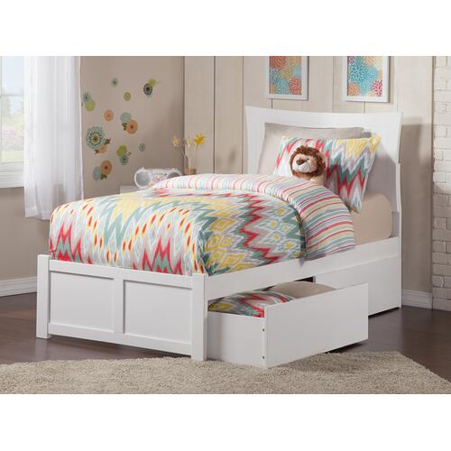 Metro Twin Flat Panel Foot Board with 2 Urban Bed Drawers White