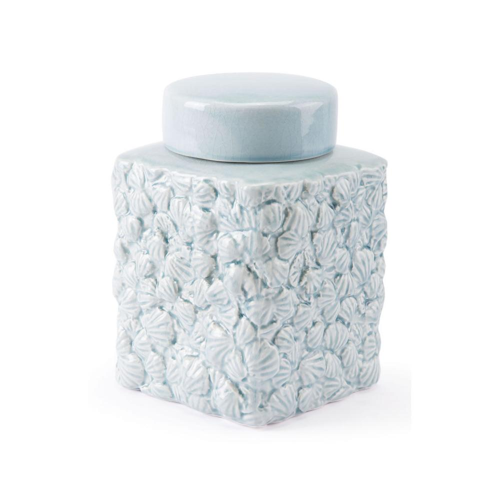 Small Shells Covered Jar Blue
