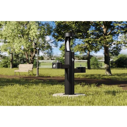 Elkay - Elkay Outdoor EZH2O Bottle Filling Station Tri-Level Pedestal, Non-Filtered Non-Refrigerated Black