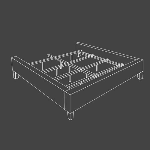 JASMINE - FLANNEL King Footboard and Rails 6/6 (Grey)