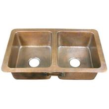 "Saffron 34"" Double Bowl Copper Drop-In Kitchen Sink"