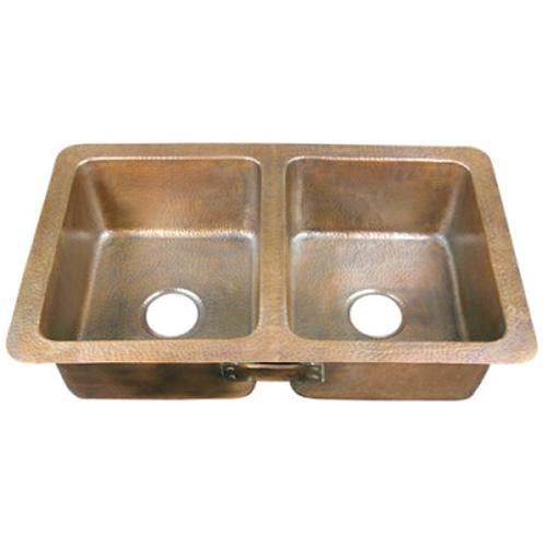 """Saffron 34"""" Double Bowl Copper Drop-In Kitchen Sink"""