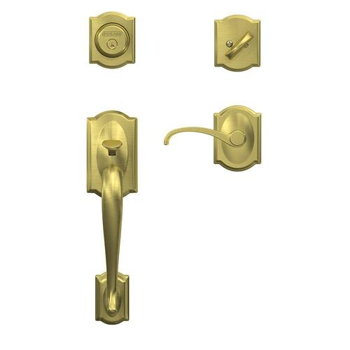 Custom Camelot Inactive Handleset with Whitney Lever and Camelot Trim - Satin Brass