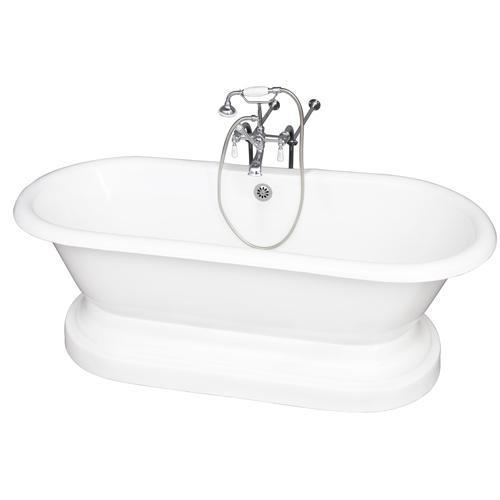 """Columbus 61"""" Cast Iron Double Roll Top Tub Kit - Polished Chrome Accessories"""